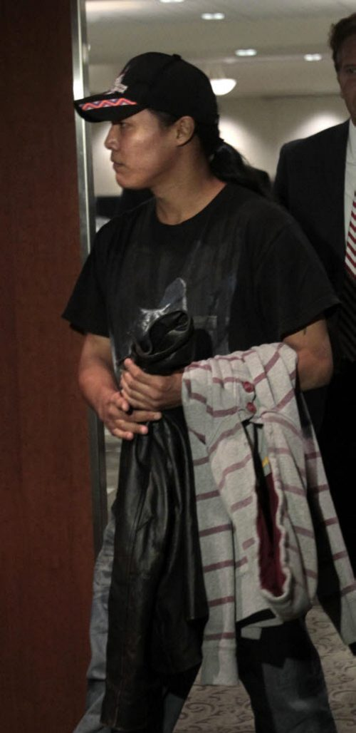Phoenix's biological father Steve Sinclair  during lunch break at Phoenix Sinclair Inquiry in the Winnipeg Convention Centre Monday.  Carol Sanders Story. Wayne Glowacki/Winnipeg Free Press July 22 2013