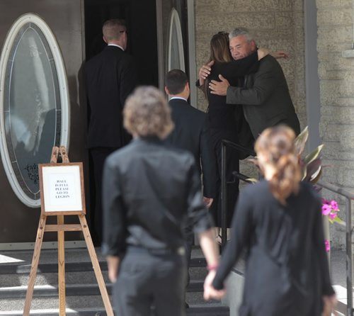 Mourners arrive Thursday at the MacKenzie Funeral Home in Stonewall.Mb. for the memorial service for Lisa Gibson, her two-year-old daughter, Anna  and three-month-old son, Nicholas. Lisa Michelle Gibson was found in the Red River a few days after her two-year-old daughter, Anna, and three-month-old son, Nicholas, were rushed to hospital after being found in their home.  Randy Turner/ Kevin Rollason story  Wayne Glowacki / Winnipeg Free Press Aug.1  2013