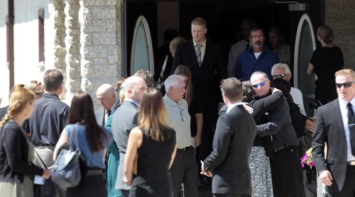 Mourners leave the MacKenzie Funeral Home in Stonewall.Mb. after the memorial service on Thursday for Lisa Gibson, her two-year-old daughter, Anna  and three-month-old son, Nicholas. Lisa Michelle Gibson was found in the Red River a few days after her two-year-old daughter, Anna, and three-month-old son, Nicholas, were rushed to hospital after being found in their home.  Randy Turner/ Kevin Rollason story  Wayne Glowacki / Winnipeg Free Press Aug.1  2013