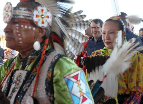 Jets owner Mark Chipman takes a IPhone picture at the Fisher River Cree Nation annual pow wow Tuesday evening- Chipman was among the guests of honour during the grand entry   – Standup photo- Aug 06, 2013   (JOE BRYKSA / WINNIPEG FREE PRESS)