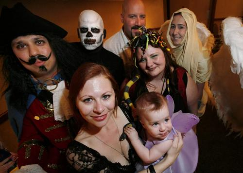John Woods / Winnipeg Free Press / May 19/07- 070519  - (L to R) Captain Morgan (aka Chad Grosskamper), Death (aka Chad Calder), Fairies (aka Cat Zoske and daughter Maya), Crazy Brittany (aka Corey Toews),  Medusa (aka Jennifer Larocque) and The Ascendant (aka Jennifer Langlotz) are participating in Masquerade at the  24th annual sci-fi Keycon 2007 conference at the Radisson Hotel Saturday, May 19/07.