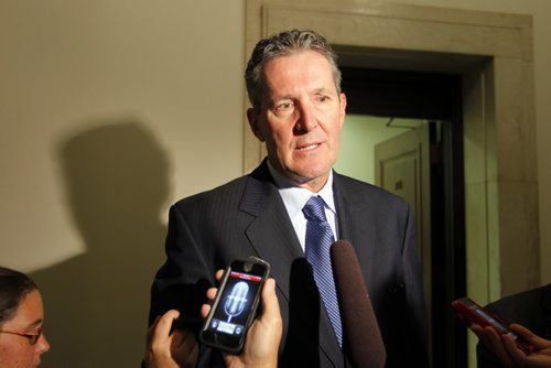 Manitoba Progressive Conservative party leader Brian Pallister addresses the media after question period. BORIS MINKEVICH / WINNIPEG FREE PRESS. Sept. 13, 2013