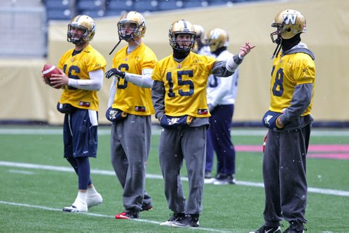 Blue Bombers' quarterbacks Jason Boltus, Levi Brown, Max Hall, and Justin Goltz during practice at the Investors Group Field in Winnipeg. BORIS MINKEVICH / WINNIPEG FREE PRESS Oct. 22, 2013