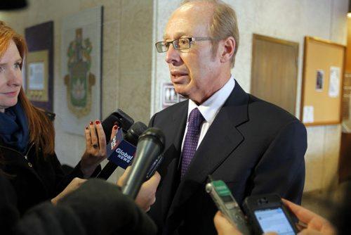Mayor Sam Katz talks to the media at City Hall. BORIS MINKEVICH / WINNIPEG FREE PRESS  October 25, 2013