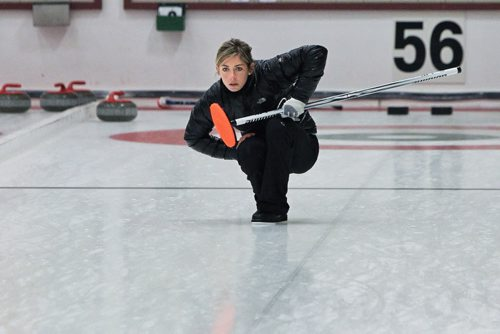 Skip Eve Muirhead watches as her rock enters the house during a draw with Team Sweeting in the 2013 Women's Curling Classic at the Fort Rouge Curling Club Sunday morning. 131027 - October 27, 2013 MIKE DEAL / WINNIPEG FREE PRESS