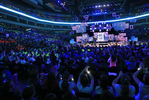 Co-founders Craig and Marc Kielburger  at the WE DAY event in the MTS Centre Wednesday.  Wayne Glowacki / Winnipeg Free Press Oct. 30 2013