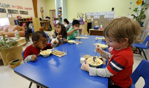 Life Nutrition -Aleph-Bet Daycare, 1007 Sinclair Street.  STORY SUBJECT: Daycare nutrition programs and their mandate to follow Canada's Food Guide. PHOTO SUGGESTION:  kids eating nutritious foods during their lunch break. EDITOR NOTE FYI...This daycare (Aleph-Bet) is not connected to the fine and nutrition controversy. REPORTER: Shamona Harnett.   Monday Life Front. Nov. 22 2013 / KEN GIGLIOTTI / WINNIPEG FREE PRESS