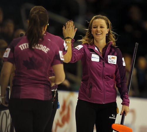 Tim Hortons Roar of the Rings at MTS Centre morning draws – skip  Chelsea Carey celebrates 6-4 win  over Team Sonnenberg