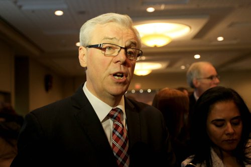 Manitoba Premier Greg Selinger talks to the media in a scrum after making his state of the Province Address at the Convention Centre Thursday. Dec 12, 2013 Ruth Bonneville / Winnipeg Free Press