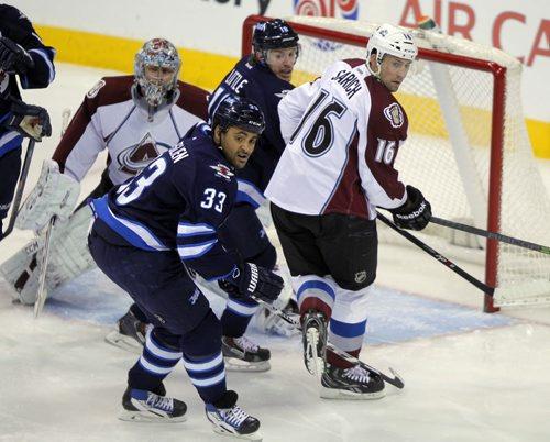 Dustin Byfuglien. Winnipeg Jets against the Colorado Avalanche. BORIS MINKEVICH / WINNIPEG FREE PRESS  December 12, 2013