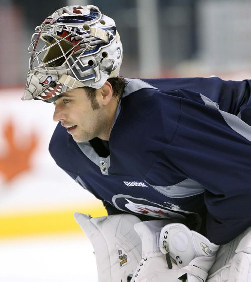 Winnipeg Jets goaltender Ondrej Pavelec  at practice Monday afternoon at the MTS Centre  - The Winnipeg Jets are in preparation for a home game tomorrow night against the Buffalo Sabers - Standup photo- Dec 30, 2013   (JOE BRYKSA / WINNIPEG FREE PRESS)