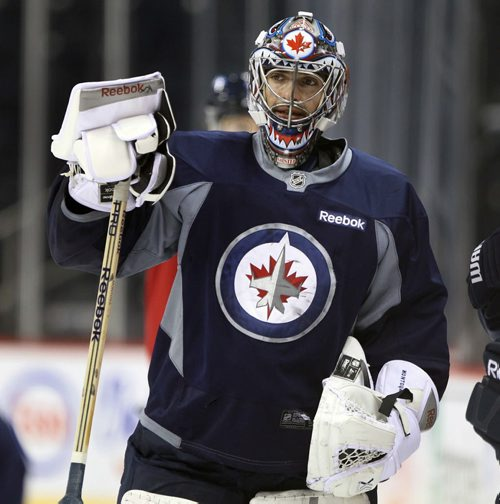 Winnipeg Jets goaltender Al Montoya at practice Monday afternoon at the MTS Centre  - The Winnipeg Jets are in preparation for a home game tomorrow night against the Buffalo Sabers - Standup photo- Dec 30, 2013   (JOE BRYKSA / WINNIPEG FREE PRESS)