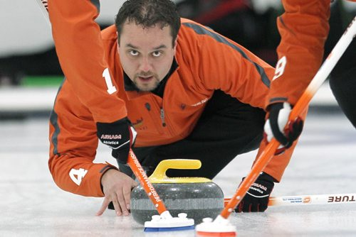 January 20, 2014 - 140120  -  Richard Daneault played Sean Grassie in the Asham final of the Manitoba Open at the Assiniboine Memorial Curling Club Monday, January 20, 2014. John Woods / Winnipeg Free Press