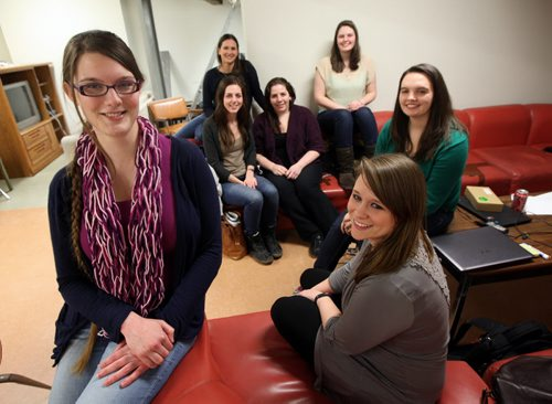 Computer science team captain Diana Carrier (front, from left), Shelby Bernhard and Hayley Guillou are heading to Montreal, along with Vanessa Reimer (rear, from left) Adrienne Pind, Lauren Slusky and Caitlin Martins. See Nick Martins story. January 28, 2014 - (Phil Hossack / Winnipeg Free Press)