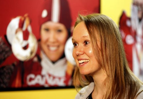 Cindy Klassen with photo at  Oympics when she won 5 Olympic medals -Klassen's 2006 Torino Bronze medal is part of the exhibit  Cindy Klassen opens Manitoba  Sports Hall of Fame  Olympic Exhibit  , with a exhibits by Klassen and Clara Hughes ,men and women's Olympic hockey , Jon Montgomery 's sled and articles going all the way back to the  1930's  Lake Placid Games  hockey memorabilia , Wpg Falcons 1920  - ed tait  JAN. 29 2014 / KEN GIGLIOTTI / WINNIPEG FREE PRESS