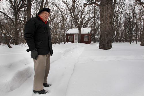 Len Van Roon Sr. on his property at 1018 Charleswood Road, between Rannock and Wilkes. Charleswood man has effort to save a centuries-old oak forest from a developer's axe has put his children's inheritance at risk. Len Van Roon's home sits on an 8-acre parcel of land next to a major new development in south Charleswood. But when a developer agreed to relocate a proposed street from beside's Van Roon's property to save the oak trees, it also meant that Van Roon would be unable to tie his land into the new development-    See Aldo Santon story- Feb 21, 2014   (JOE BRYKSA / WINNIPEG FREE PRESS)
