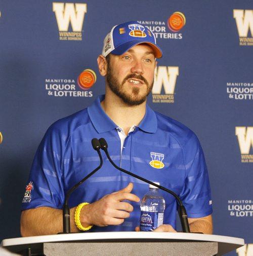 The Winnipeg Blue Bombers former quarterback Buck Pierce will join Head Coach Mike O'Shea's staff in the role of Running Backs Coach. BORIS MINKEVICH / WINNIPEG FREE PRESS  March 7, 2014