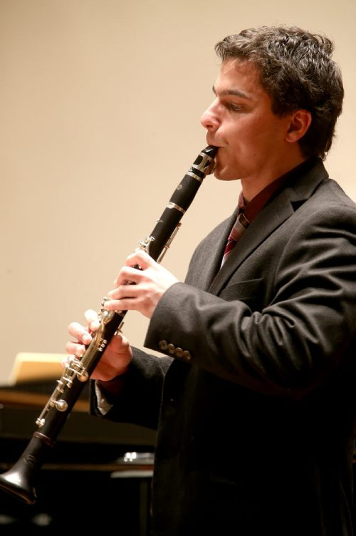 Cristian Kasinksi plays the clarinet during the Aikins Memorial Trophy part of the Winnipeg Music Festival at Westminster United Church, Saturday, March 15, 2014. (TREVOR HAGAN/WINNIPEG FREE PRESS)