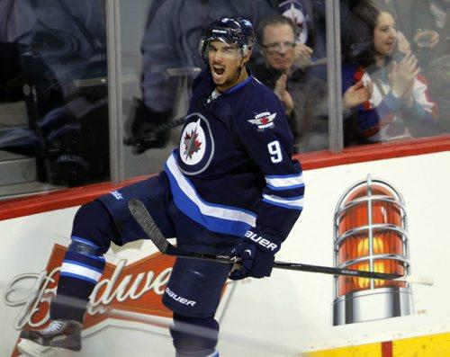 NHL Hockey Winnipeg Jets vs. Colorodo Avalanche at MTS Centre Second Period. Winnipeg Jets Evander Kane scores a goal. BORIS MINKEVICH / WINNIPEG FREE PRESS  March 19, 2014