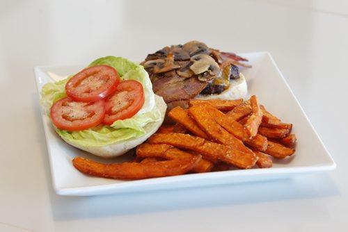 Marion Street Eatery. Burger and yam fries. BORIS MINKEVICH / WINNIPEG FREE PRESS  March 28, 2014