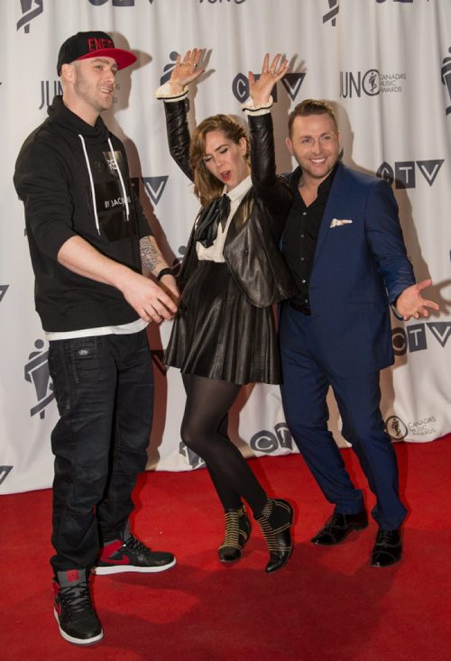 Co-hosts Classified, Serena Ryder, Johnny Reid at the 2014 JUNO awards at the MTS Centre in Winnipeg on Sunday, March 30, 2014. PUTMOREINFOHERE. (Photo by Crystal Schick/Winnipeg Free Press)