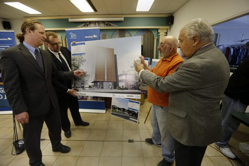 LtoR MLA Rob Altemeyer , Housing and Community Development Minister Peter Bjornson, Marty Dolin, president, board of directors, Michael Mercury, president, board of directors, Clubhouse of Winnipeg announce  construction of Fountain Springs housing a new 31 unit  apartment building at 184 Sherbrook St , next to Clubhouse for low and moderate income  and to assist with mental health needs WHEN: 10:30 a.m., TODAY, Thursday, April 10 WHERE: Clubhouse of Winnipeg, 172 Sherbrook St. TOPIC: Plans to construct a new housing community and a progress report on the provincial commitment to affordable and social housing units April 10 2014 / KEN GIGLIOTTI / WINNIPEG FREE PRESS