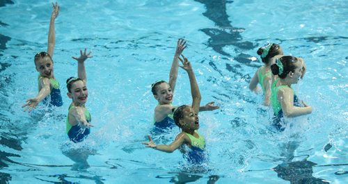 Team Winnipeg Synchro, 11-12 year-olds, compete in the Canadian Prairie Invitational synchronized swim competition at PanAm pool Sunday morning. 140511 - Sunday, May 11, 2014 -  (MIKE DEAL / WINNIPEG FREE PRESS)