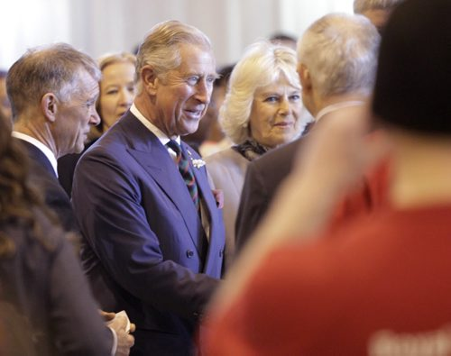 Prince Charles with his wife,Camilla, Duchess of Cornwall visit with guests at the  Stevenson Hangar Wednesday morning.  Wayne Glowacki / Winnipeg Free Press May 21 2014