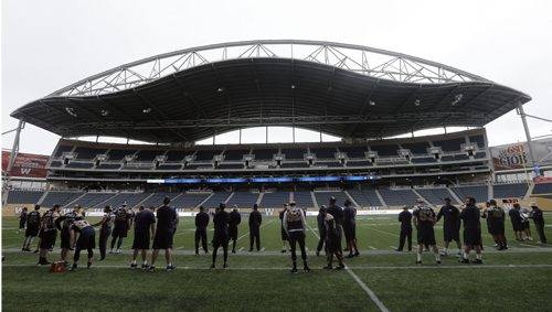 Every Blue Bomber prepares to start the season in their own way and collectively as a team  -Blue Bomber media practice  in preparation for their home game Vs Toronto on Thursday June 25 2014 / KEN GIGLIOTTI / WINNIPEG FREE PRESS