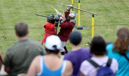 A combat demonstration at the Medieval Festival in Cooks Creek, Saturday, July 26, 2014. (TREVOR HAGAN/WINNIPEG FREE PRESS)