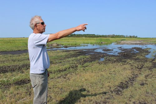 Eddystone farmer Bill Finney inspects his flooded fields. The Portage Diversion has raised water levels and caused problems for farms along Lake Manitoba again.BILL REDEKOP/WINNIPEG FREE PRESS Aug 6,2014