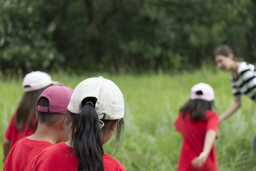 Danielle Trudeal (far right) with Living Prairie Museum shows kids from Harstone Children Centre a sage bush on a tour of Assiniboine Forest on Wednesday. Sarah Taylor / Winnipeg Free Press August 6, 2014