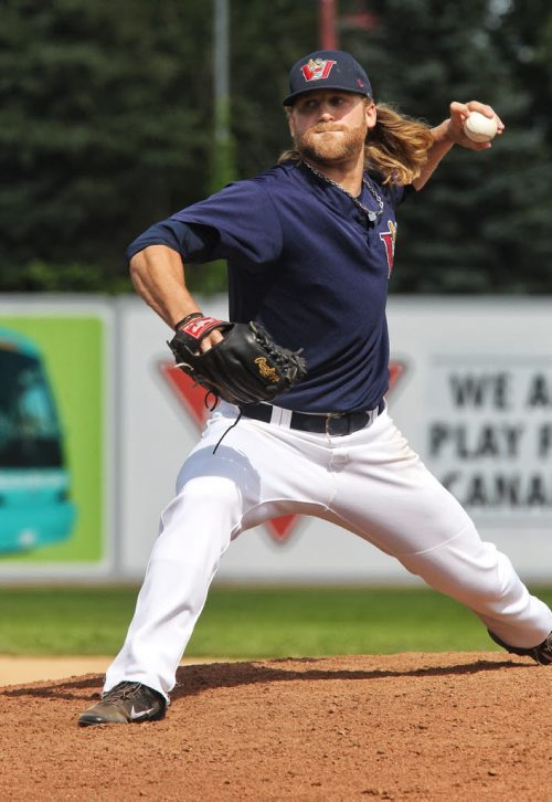 Winnipeg Goldeyes' pitcher Chris Salamida during the afternoon game against the Wichita Wingnuts at Shaw Park.  140810 August 10, 2014 Mike Deal / Winnipeg Free Press