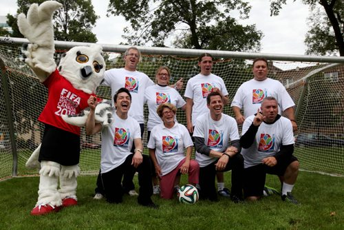 CELEBRITY SOCCER — in honour of the official ticket sale kickoff on Sept. 10 for the Women's World Cup 2015, mayoral candidates pose for group photo after playing  a friendly game of soccer at the Legislative Building.  Sept 04.  2014 Ruth Bonneville / Winnipeg Free Press   Ruth Bonnevilles