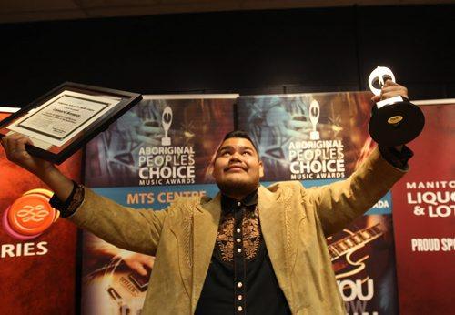 Part of the Manito Ahbee Festival the Aboriginal Peoples Choice Music Awards- Leonard Sumner- Best New Artist -Standup Photo- Sept 12, 2014   (JOE BRYKSA / WINNIPEG FREE PRESS)