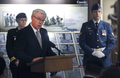 Premier Greg Selinger at the ceremony to open the Afghanistan Memorial Vigil, a memorial to Canada's 12-year military deployment now on display at the Manitoba Legislative Building.Larry Kusch story Wayne Glowacki/Winnipeg Free Press Sept.16  2014