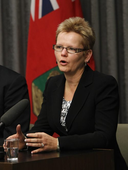 Barb Isaak, president, Manitoba Association of School Superintendents at a news conference  re: Closing the Achievement Gap: Success for Every Student, an action plan in response to Pan-Canadian Assessment Program. Nick Martin Wayne Glowacki/Winnipeg Free Press Oct. 7 2014