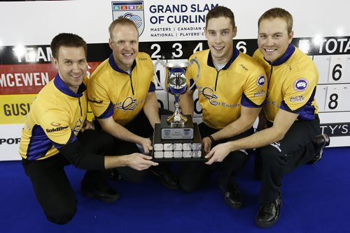 November 2, 2014 - 141102  -  Brian Gushew, Mark Nichols, Brett Gallant and Geoff Walker pose for a photo after defeating Mike McEwan in the championship game of the Masters Grand Slam of Curling in Selkirk, Sunday, November 2, 2014. John Woods / Winnipeg Free Press