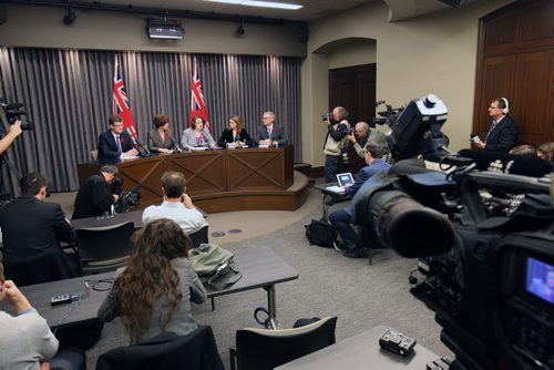 Five cabinet ministers who challenged Premier Greg Selinger on his leadership resigned from cabinet today. They held a news conference Monday morning at the Manitoba Legislature- L to R-Justice Minister Andrew Swan, Jobs and Economy Minister Theresa Oswald, Finance Minister Jennifer Howard, Health Minister Erin Selby, and Municipal Government Minister Stan Struthers See Bruce Owen Larry Kusch story – Nov 03, 2014   (JOE BRYKSA / WINNIPEG FREE PRESS)