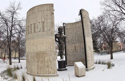 129 years ago Louis Riel was hanged in Regina, SK on today's date in 1885. The M¾©tis rebel leader once considered a criminal is now acknowledged and celebrated as Manitoba's founding father. This statue of Louis Riel which stands on the grounds of St. Boniface Collage was created by Marcien Lemay and Etienne Gaboury in 1971 and is said to be an abstract depiction of Riel'Äôs tortured soul.  141116 November 16, 2014 Mike Deal / Winnipeg Free Press