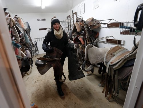 Rhianna Schell  leave the tac room with a saddle for her horse RD .LOCAL - Miracle Ranch NICK MARTIN STORY:Argyle Alternative High School started a program this year called Healing with Horses, where eight at-risk students go to Miracle Ranch once a week for ten weeks. Students are paired up with the same horse each session. The program uses principles of equine therapy and as well taps into the social/emotional nature of horses for learning.  NOV. 18 2014 /KEN GIGLIOTTI / WINNIPEG FREE PRESS