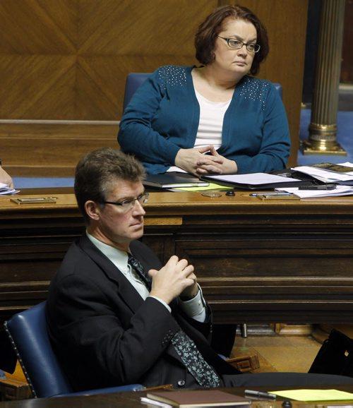 LOCAL - Question period at the Manitoba Legislature. NDP Jennifer Howard (top) and Andrew Swan, bottom. BORIS MINKEVICH / WINNIPEG FREE PRESS November 24, 2014