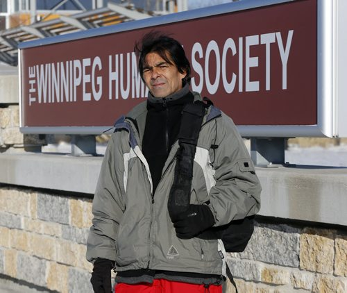 local - Richard Pesti outside the  Winnipeg Humane Society.  Homeless man Richard Pesti standing outside humane society building and shot inside of his dog named Doogie,  a three-year-old dog he had to surrender when the weather turned too cold. Gord Sinclair Col.  NOV. 26 2014 /KEN GIGLIOTTI / WINNIPEG FREE PRESS