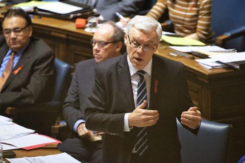 Premier Greg Selinger talks during Question Period in the Manitoba Legislature Monday afternoon.  141201 December 01, 2014 Mike Deal / Winnipeg Free Press
