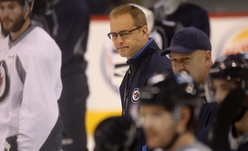 Winnipeg Jets coach Paul Maurice on ice coaches his team at MTS Centre Tuesday.  Dec 02,  2014 Ruth Bonneville / Winnipeg Free Press