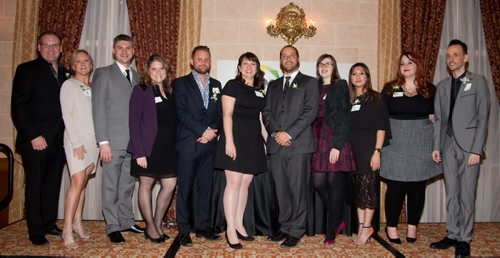 The seventh annual Future Leaders of Manitoba (FLM) awards were held Thursday, Jan. 22, 2015 at the Fort Garry Hotel. The awards recognize young Manitobans for their dedication to the social and economic growth of this province. Pictured, from left, are FLM council members Callum MacAngus, Jen Kennedy, Andrew Kirk, Patricia Katz, Donavan Robinson, Kathy Kerr (president), Jordan Farber, Jessica Schofield, Meryl Kaye De Leon, Kerilee Raven and Toby Bartlett. (John Johnston / Winnipeg Free Press)