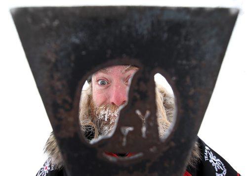 Frosty Work- Snow Sculptor Adam Green from Whitehorse, Yukon on site at the Festival Du Voyageur working on his snow sculpture Thursday –Western Canada's largest winter festival - the 2015 Festival du Voyageur - runs from February 13 – 22.- Standup Photo - Feb 12, 2015   (JOE BRYKSA / WINNIPEG FREE PRESS)