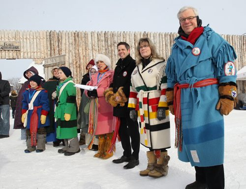 From R to L- Premier Greg Selinger, Shelly Glover –Minister of Canadian Heritage and Official Languages and City of Winnipeg mayor Brian Bowman at  newsconference today at the Festival site- Western Canada's largest winter festival - the 2015 Festival du Voyageur - runs from February 13 – 22. –See Alex Paul Story- Feb 12, 2015   (JOE BRYKSA / WINNIPEG FREE PRESS)