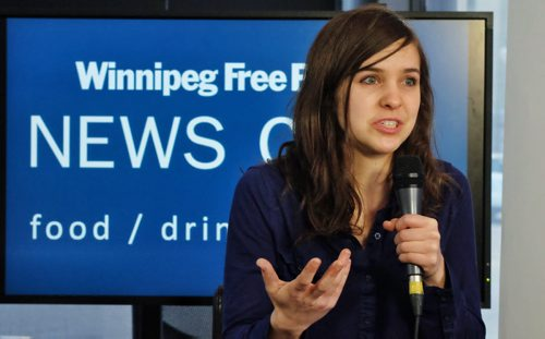 Bridget de Pape at the Winnipeg Free Press Newscafe for a live interview where she will discuss her efforts to try to get young people interested in voting and more importantly using their vote to oust Harper. Bridget caused quite the commotion when she stood in the middle of the House of Commons with her Stop Harper sign a few years ago.  150225 February 25, 2015 Mike Deal / Winnipeg Free Press