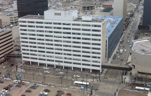 The Winnipeg Police Headquarters building, seen from the 29th floor of the Radisson Hotel, Friday, March 13, 2015. (TREVOR HAGAN/WINNIPEG FREE PRESS)